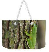 Green Tree Frog Thinking Weekender Tote Bag