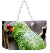 Green Tropical Parrot, Side View. Weekender Tote Bag