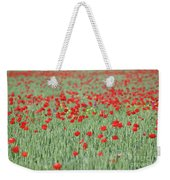 Green Wheat And Red Poppy Flowers Field Weekender Tote Bag