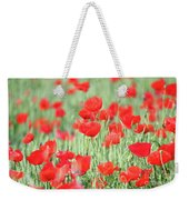Green Wheat And Red Poppy Flowers Weekender Tote Bag