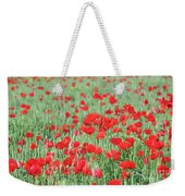 Green Wheat With Poppy Flowers Weekender Tote Bag
