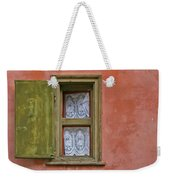 Green Window On A Red Wall Weekender Tote Bag