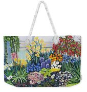 Greenhouse Flowers With Blue And Red Weekender Tote Bag