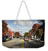 Greensboro Georgia Corner Of Main Street And Broad Street Fall Leaves Greensboro Georgia Art Weekender Tote Bag