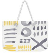 Grey And Yellow Shapes- Abstract Painting Weekender Tote Bag by Linda Woods