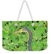 Grey Crane On Green Weekender Tote Bag