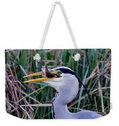 Grey Heron With Fish Weekender Tote Bag