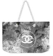 Grey White Black Chanel Logo Print Weekender Tote Bag