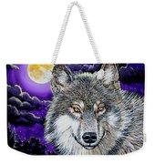 Grey Wolf And Full Moon Weekender Tote Bag
