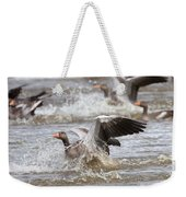 Greylag Goose Landing Weekender Tote Bag