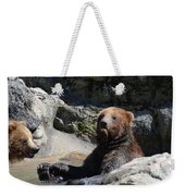 Grizzlies Snacking On Things They Find In A River Weekender Tote Bag