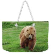 Grizzly Bear Approaching In A Field Weekender Tote Bag