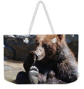 Grizzly Bear Licking His Paw While Seated In A Muddy River Weekender Tote Bag