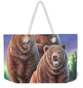 Grizzly Bears In Starry Night Weekender Tote Bag