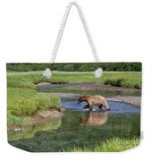 Grizzy Bear Crossing The River Weekender Tote Bag