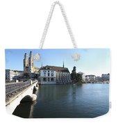 Grossmunster, Wasserkirche And Munsterbrucke - Zurich Weekender Tote Bag