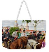 Group Of Couples On Horseback Drinking And Partying At The Sevil Weekender Tote Bag