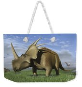 Group Of Dinosaurs Grazing In A Grassy Weekender Tote Bag