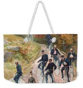 Group Riding Penny Farthing Bicycles Weekender Tote Bag