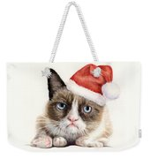 Grumpy Cat As Santa Weekender Tote Bag by Olga Shvartsur