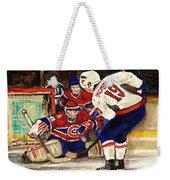 Halak Blocks Backstrom In Stanley Cup Playoffs 2010 Weekender Tote Bag by Carole Spandau