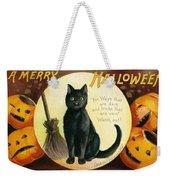 Halloween Greetings With Black Cat And Carved Pumpkins Weekender Tote Bag