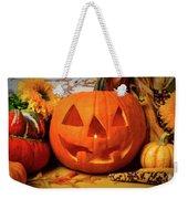 Halloween Pumpkin Smiling Weekender Tote Bag