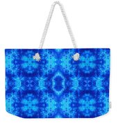 Hand-dyed Blue And Turquoise Fabric With Zig Zag Stitch Details  Weekender Tote Bag