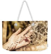 Hand Of A Woman Catching Water Stream Weekender Tote Bag