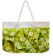 Hand Painted Picture, Meadow With White Dandelines Weekender Tote Bag