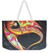 Hand Painted Silk Scarf Dragon On Black Weekender Tote Bag