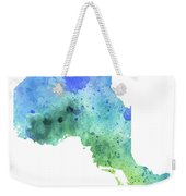 Hand Painted Watercolor Map Of Ontario, Canada In Blue And Green  Weekender Tote Bag