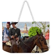 Handsome Man And Beautiful Woman Drinking On Horseback With 2015 Weekender Tote Bag