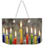 Hanukkah Menorah With Burning Candles Weekender Tote Bag