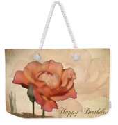 Happy Birthday Peach Rose Card Weekender Tote Bag