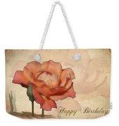 Happy Birthday Peach Rose Card Weekender Tote Bag
