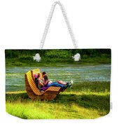Young Family Enjoying The Swiss Country Side Weekender Tote Bag