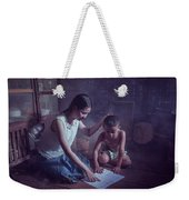 Happy Family Sisters And Brothers Read Books In The Evening At H Weekender Tote Bag