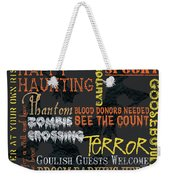 Happy Haunting Typography Weekender Tote Bag