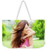 Happy Mother With Daughter Weekender Tote Bag