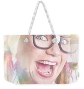 Happy Nerd Girl Singing Karaoke And Dancing Weekender Tote Bag