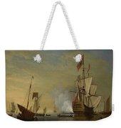 Harbor Scene An English Ship With Sails Loosened Firing A Gun Weekender Tote Bag