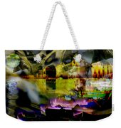 Harbor Scene Through A Vodka Bottle Weekender Tote Bag