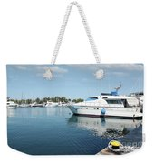 Harbor With Yacht And Boats Weekender Tote Bag