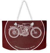 Harley Davidson Model 10b 1914 For Some There's Therapy, For The Rest Of Us There's Motorcycles, Red Weekender Tote Bag