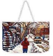 Winter Walk After The Snowfall Best Montreal Street Scenes Paintings Canadian Artist Paysage Quebec Weekender Tote Bag