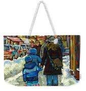 Exceptional Canadian Artist Winter Scene Paintings Downtown Montreal Achetez Scenes De Quebec  Weekender Tote Bag