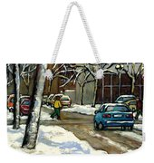 Canadian Artist Winter Scenes Original Paintings Quebec Streets Achetez  Montreal Art Online Weekender Tote Bag
