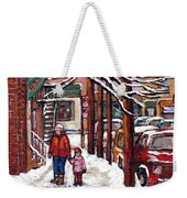 Canadian Winter Scene Paintings Original Art Verdun Montreal Achetez Scenes De Rue Quebec C Spandau  Weekender Tote Bag
