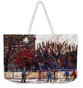 Paysages De Quebec Petits Formats A Vendre Hockey Rink Paintings Psc Original Montreal Street Scenes Weekender Tote Bag